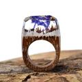 2016 Hot Handmade Wooden Rings Resin Secret Transparent Ring Fogs Inside Wedding Rings Magical Men Women