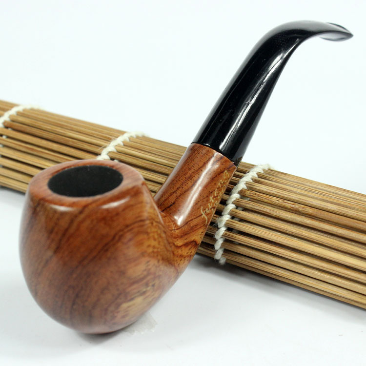 Fashion New Ebony Wooden Smoking Pipe Bent Type Handmade Tobacco Pipes FUTING F01 - Send Leather Rack dongfang house store
