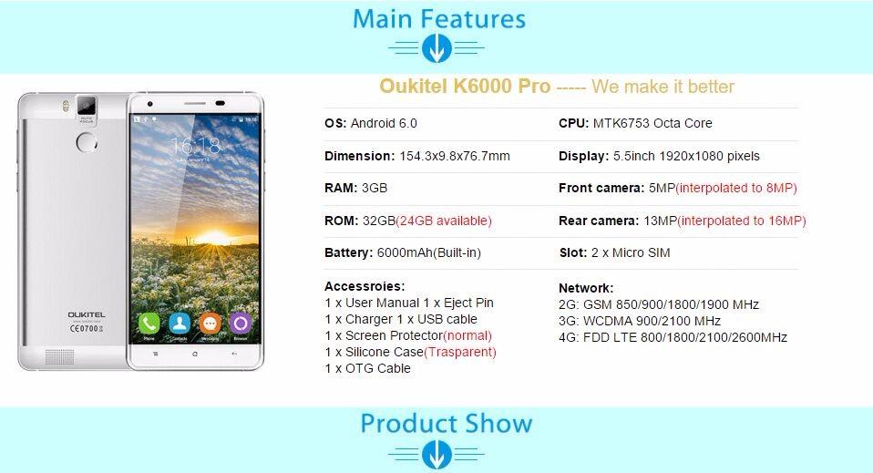 Oukitel k6000 user manual