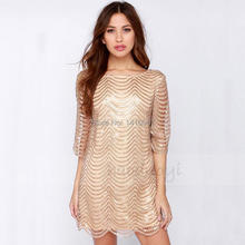 Brand Fashion Women Elegant Party Dress Stripe Glitter Loose  Sexy Dress For Wholesale And Free Shipping haoduoyi