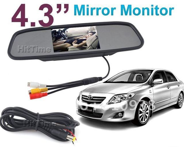 "NEW 4.3"" inch TFT Car LCD Rear View Rearview DVD Mirror Monitor for car CCTV camera cam,2CH vedio"