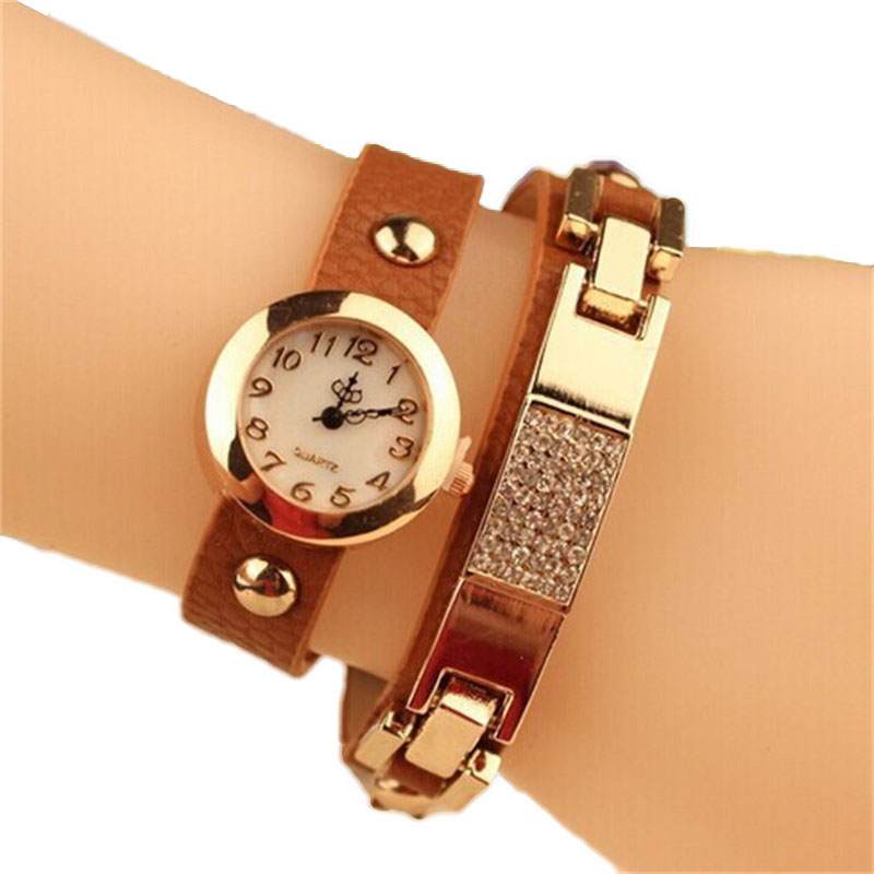 Top Fashion Watches Women Gold Alloy Case Ladies W...