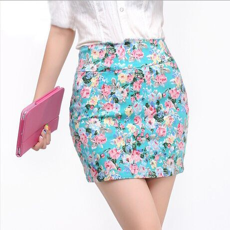 2015 summer new fashion casual pencil skirt floral printing step skirts women mini - Vintage&Classical store