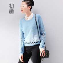 Toyouth 2016 New Arrival European Style Spring Women Hollow Out Turn Down Collar Casual Fashion Pullover Knitted Sweater Tops(China (Mainland))