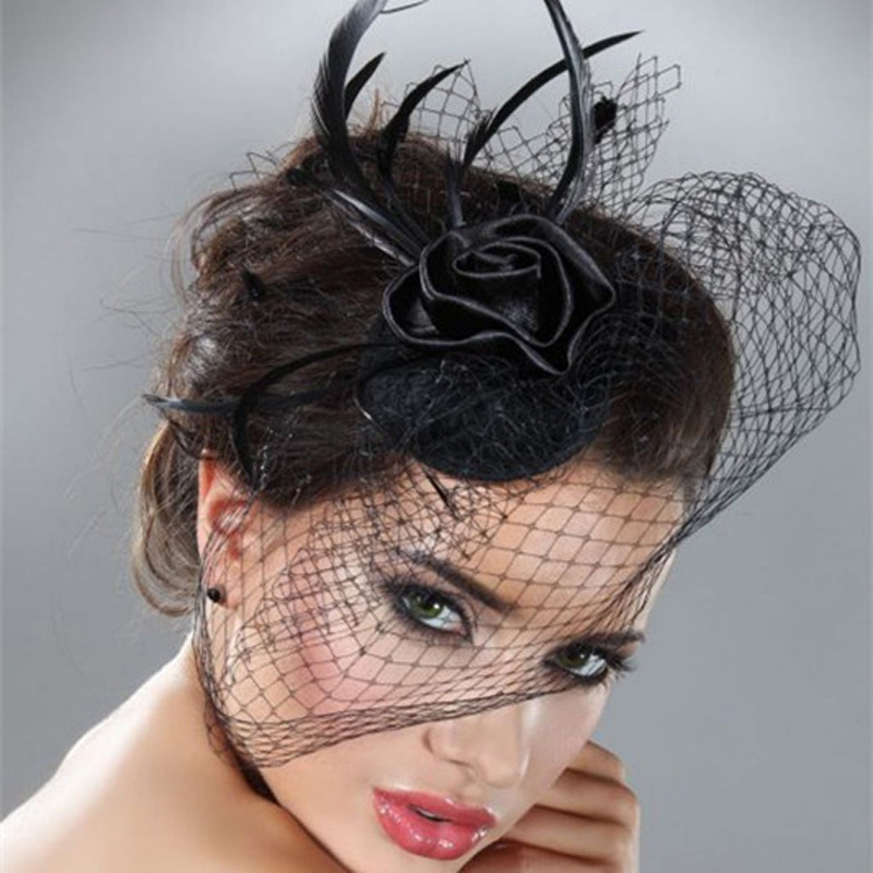 Mini Hat Wedding Bridal Birdcage Veil With Black Black Feather Blusher Fascinator Black Tulle Hair Flower Hat In Stock 18057(China (Mainland))