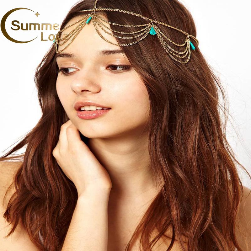 Women BOHO Indian Belly Dance Hippie Headband Hair Cuff Head Chain Tassel Tiara Accessories Wommen Jewelry M092 - My Mission--Fashion your Beauty(Min Order 6$ store)