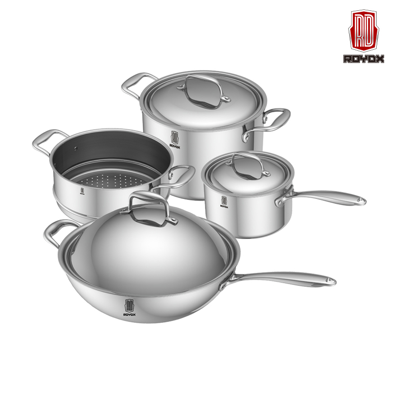 Free Shipping New Cooking Tools 8pc Of 18/10 Stainless Steel Cookware Set Wok+Steamer+Milk Pot+Stockpot Utensilios De Cocina(China (Mainland))