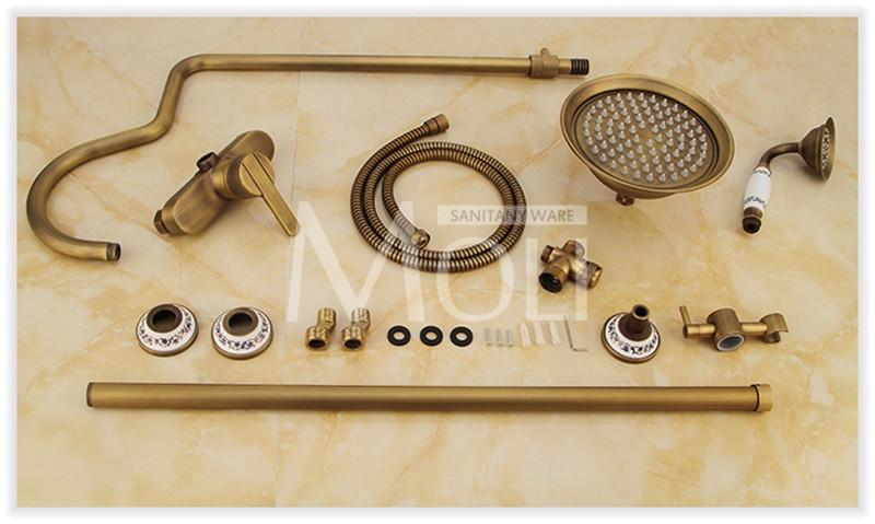Купить 8 Дюймов ванная комната смеситель для душа античная латунь настенные дождь смеситель для душа установить с душем и ручной душ