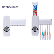 Blanc accueil salle de bains ménages automatique Auto dentifrice distributeur Squeezer + 5 pcs porte brosse à dents Set w / montage mural autocollants(China (Mainland))