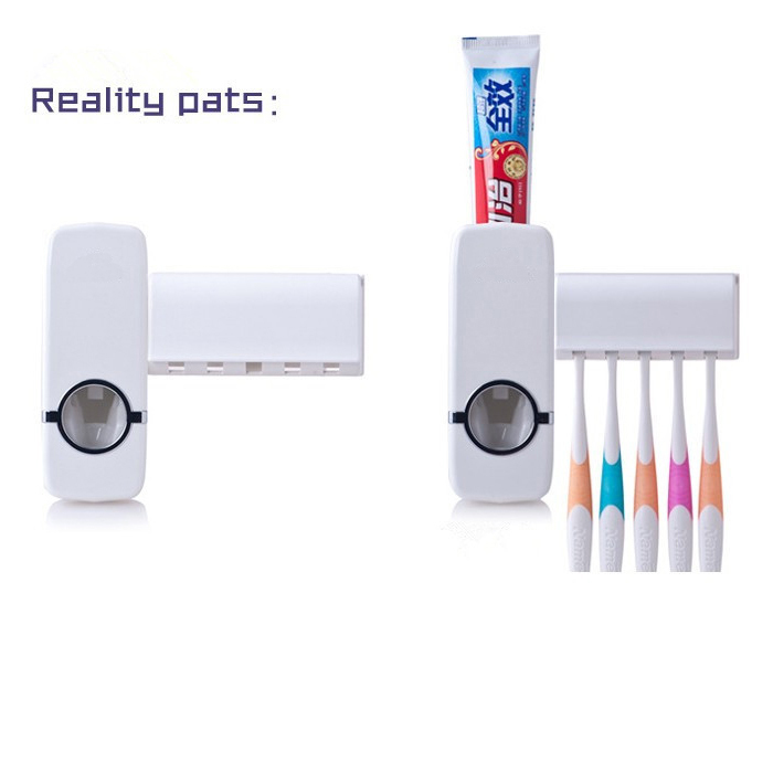 White Home Bathroom Household Automatic Auto Toothpaste Dispenser Squeezer + 5pcs Toothbrush Holder Set w/ Wall Mount Stickers(China (Mainland))