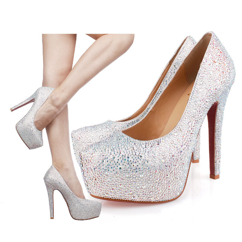 Silver Platform High Heels