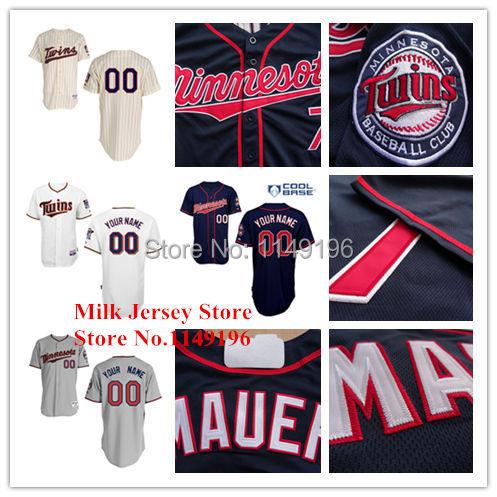 Personalized Baseball Jersey Minnesota Twins Custom Baseball Jerseys Embroidery Logo Stitched Blue White Gray(China (Mainland))