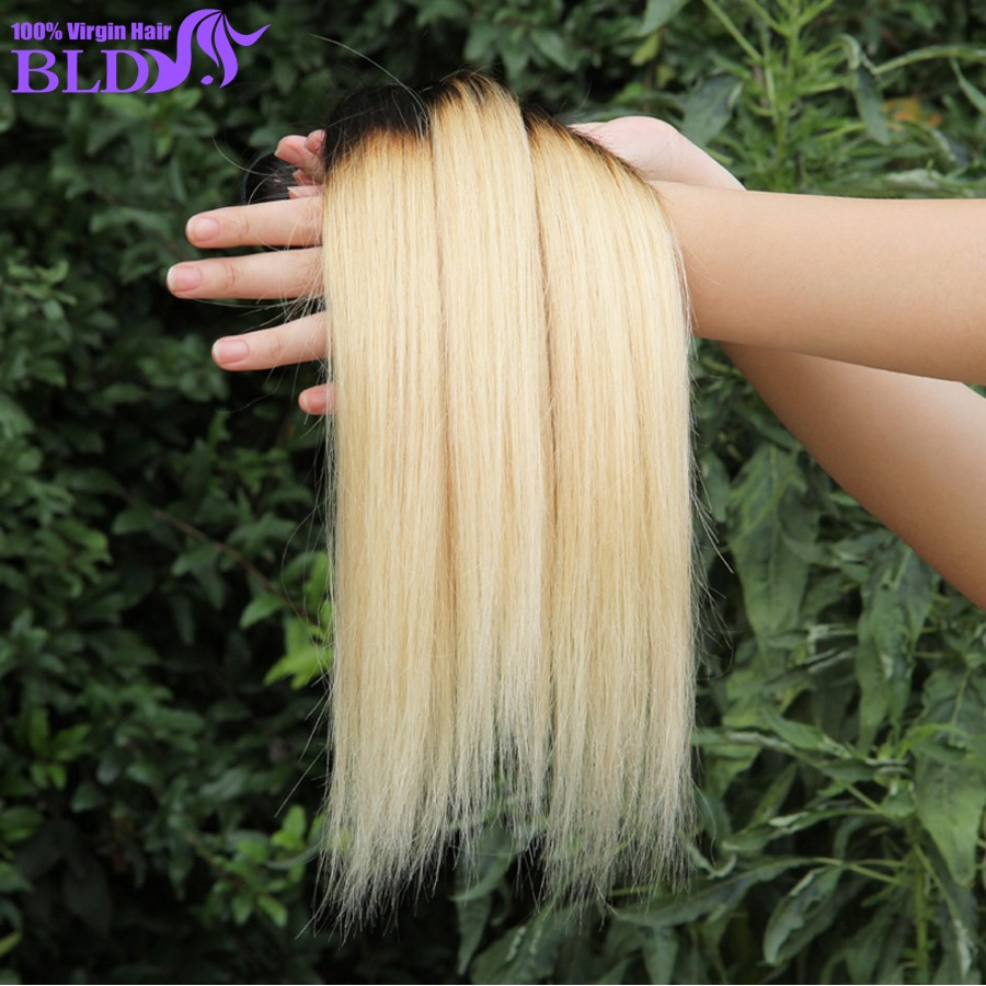 Brazilian Vrgin Hair Beauty  Human Hair Extensions 1b Brazilian Virgin Straight Hair 1B 613 Blonde 3Pcs Lot