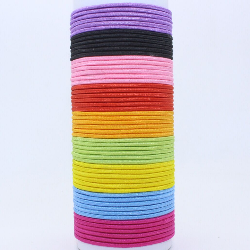 Wholesale 30mm line hair rope elastic color black ponytail holders hair accessories for girls kids rubber bands 2016 10pcs/lot(China (Mainland))