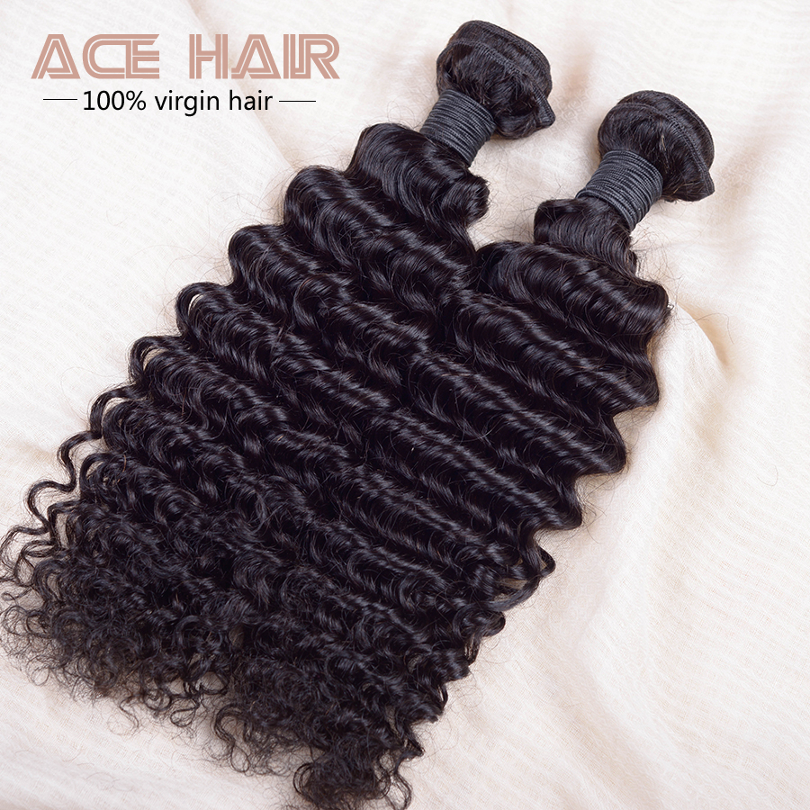 6a Unprocessed Virgin HairBrazilian Deep Wave  Virgin Hair 2pcs 200g Lot Brazilian Virgin Hair  Deep Wave With Closure<br><br>Aliexpress