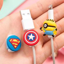 10 unids/lote Cable USB de la Historieta Protector Auricular auriculares línea de ahorro Para El cable de datos de línea de carga del teléfono Móvil de protección