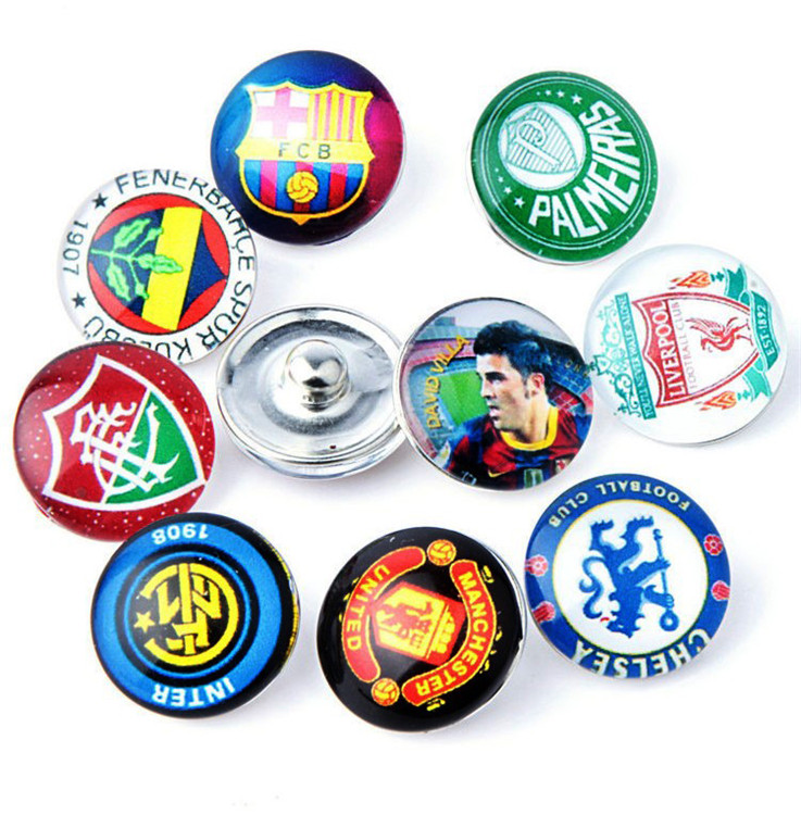 50pcs/lot Mix Colors Glass Dome Cabochon National Team Football Fans 18mm Snap Button Findings For DIY Jewelry<br><br>Aliexpress