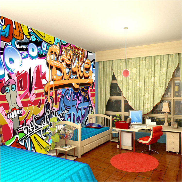 Gallery for graffiti wallpaper for bedrooms for Art mural wallpaper