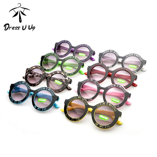 DRESSUUP 3-14 Лет Мальчики Девочки Письмо Детские Солнцезащитные Очки ПРИДЕРЖИВАТЬСЯ ИГЛЫ Круглые Детские Очки Óculos Де Sol Gafas