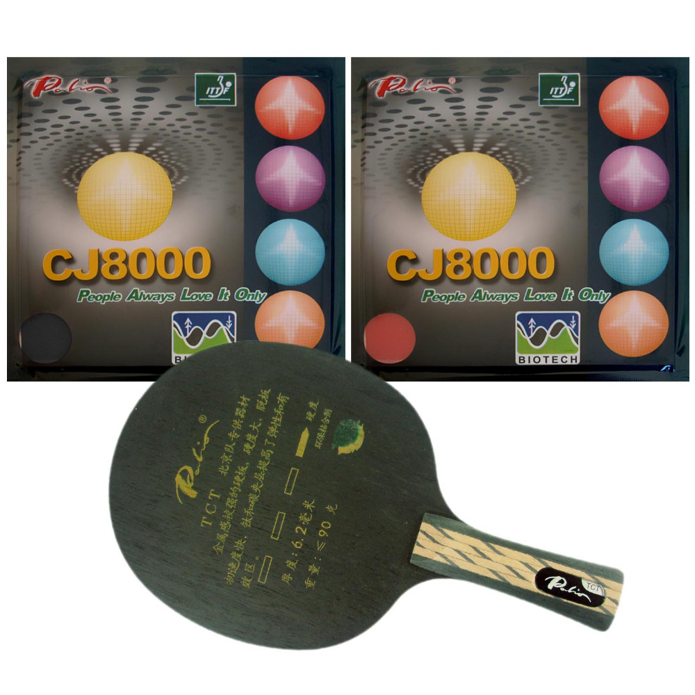 Free shipping, Palio TCT blade + 2 pieces of CJ8000 (BIOTECH) rubber with sponge (H40-42) for a table tennis / ping pong racket