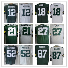 12 Aaron Rodgers 18 Randall Cobb 21 Ha Ha Clinton-Dix 27 Eddie Lacy 52 Clay Matthews 56 Peppers 87 Jordy Nelson Elite jersey(China (Mainland))