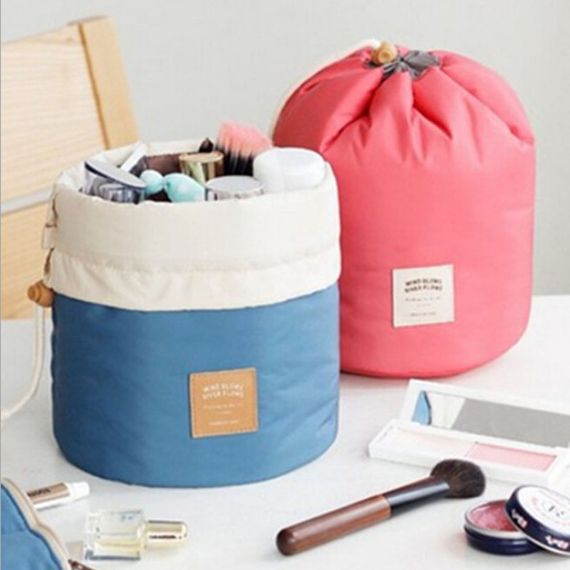 Barrel Shaped Travel Cosmetic Bag Nylon Wash Bags Makeup Organizer Storage High Capacity Drawstring Elegant Drum X15 - Hongye cosmetic shop store