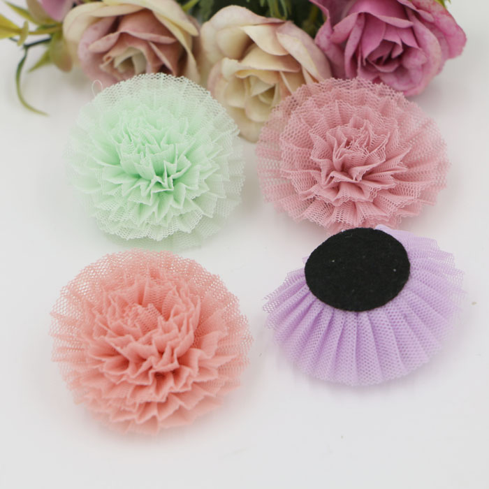 Wholesale Trendy 20pcs/lot Fashion Handmade Flowers Shape Net Yarn Florals Diy Jewelry Headbands/Graments/Hair Accessory(China (Mainland))