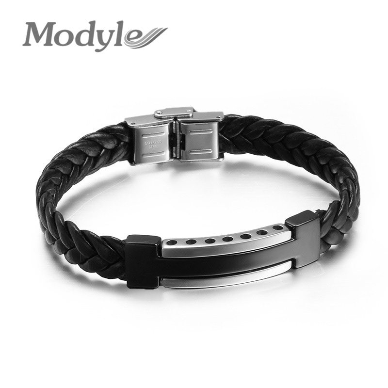Cool Men Black Genuine PU Leather Bracelets Wholesale High Quality Stainless Steel Bracelets & Bangles With Cross(China (Mainland))