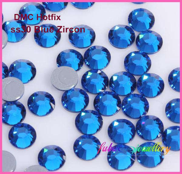 Free Shipping! 288pcs/Lot, ss30 (6.3-6.5mm) High Quality DMC Capri Blue Iron On Rhinestones / Hot fix Rhinestones(China (Mainland))