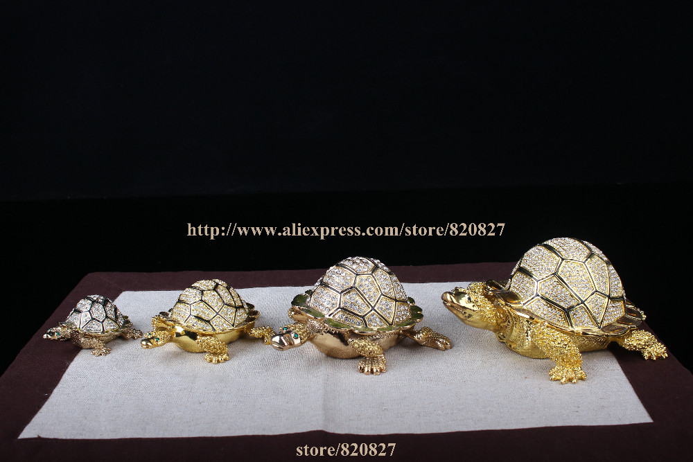 Big Size faberge turtle jewelry trinket box Turtle Crystals Jewellery Jeweled Trinket Gift Box Turtle russian Jewellery box