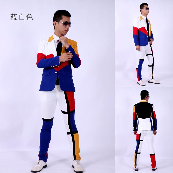(jacket+pants)suit male blue white red color dancer singer dress performance show nightclub clothing  Outdoors Slim  wear showÎäåæäà è àêñåññóàðû<br><br>