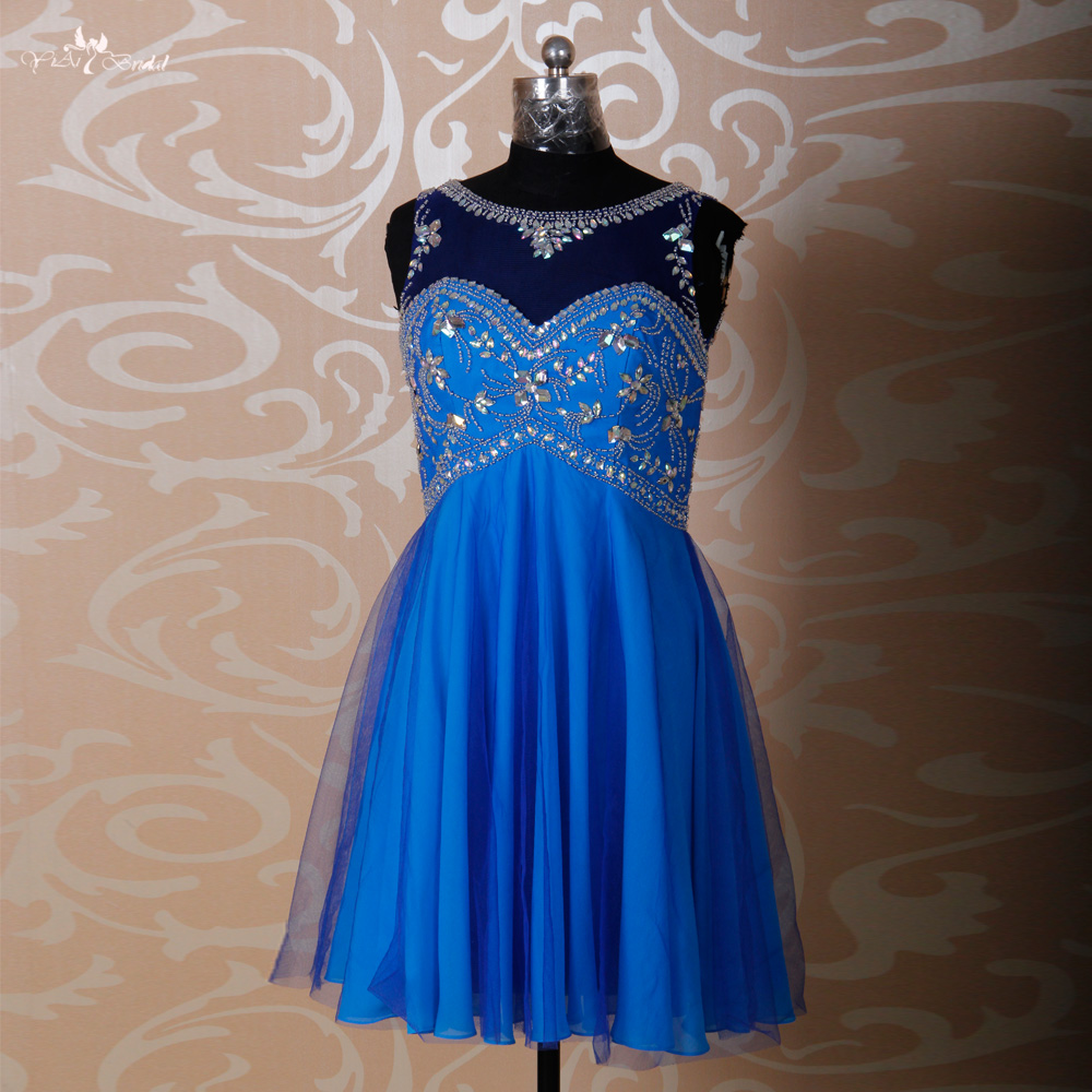 Rse263 gorgeous rhinestones pattern knee length short for Royal blue short wedding dresses