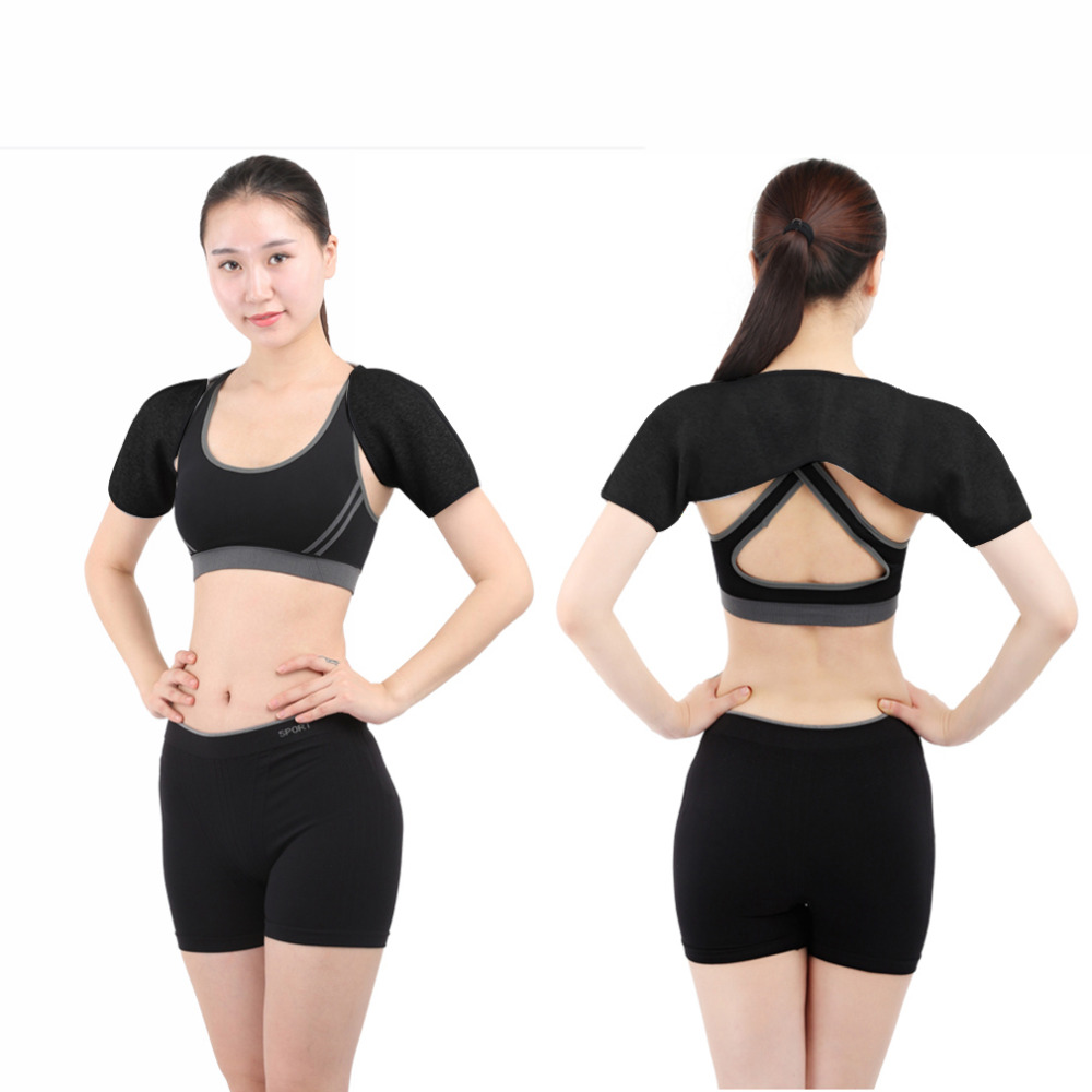 2016 New Good Quality Sport Double Shoulder Brace Support Strap Wrap Belt Band Pad Gym Sport Injury Guard Back Pad(China (Mainland))