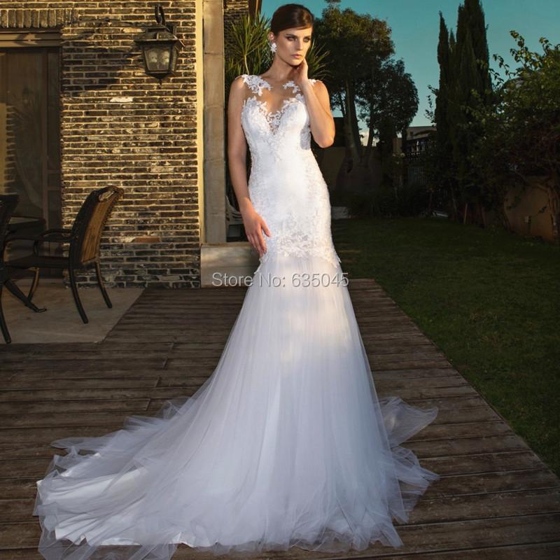 Vestido Де Noiva New Сшитое Аппликация Тюль Белый Русалка Свадебное Платье Свадебное Платье Невесты Платья Свадебные Платья
