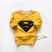 2015 Spring and autumn kids fashion Superman hoodies cotton kid baby girls boys children sweatershirts sweaters 2-6Y(China (Mainland))