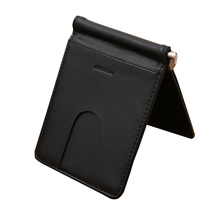 New Men Money Clip Slim Front Pocket Genuine Leather Money Clips Wish Card Pockets Wallet(China (Mainland))