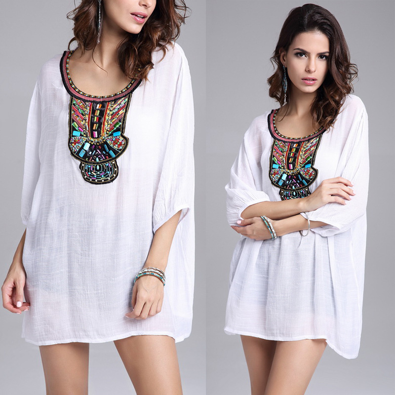 2016 Fashion Dress Embroidery White Spring Summer Clothing