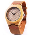 2016 America Europe popular women s Bamboo Wooden watch nature Bamboo quartz Watch Real Leather Strap
