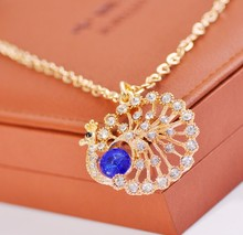 Fashion  peacock necklace South Korean jewelry cute exquisite necklace & pendants Blue Rhinestone Necklace sweater chain(China (Mainland))