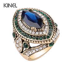 Buy Luxury Vintage Jewelry Big Wedding Rings Women Gold Color Mosaic Green Crystal 2016 New Fashion Accessories for $1.98 in AliExpress store