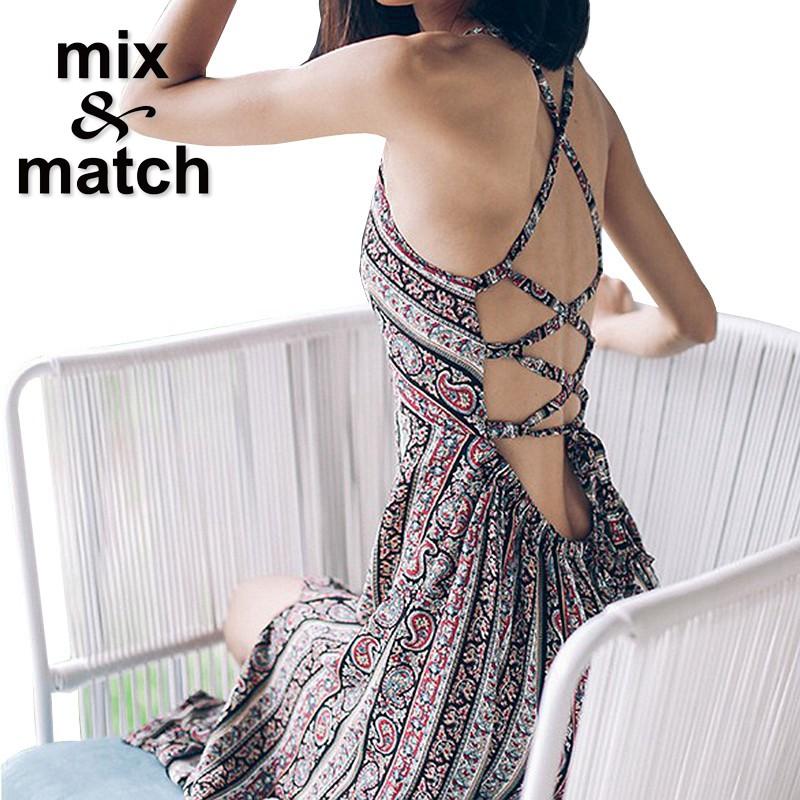 2016 Summer Beach Dress Backless Crossover Straps Elastic Waist Maxi Long Dress Side Slit Paisley Printed Cotton Dress DR02237C(China (Mainland))