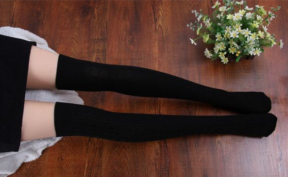 New 2015 Fashion Women Lady Over The Knee Sock Cotton Thigh High Cotton Stockings 5 Colors