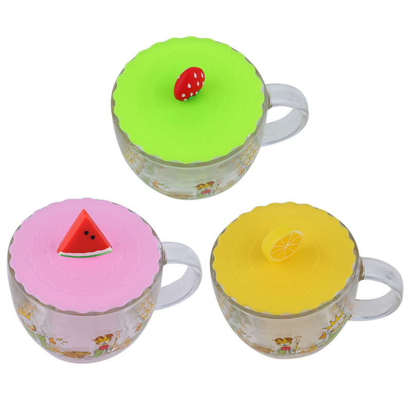 Lovely Anti-dust Silicone Fruit Glass Cup Cover Leakproof Coffee Mug Lid Cap Airtight Sealed Cup Cover ZH01728(China (Mainland))