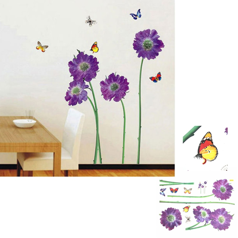 Beautiful Design Durable 3D Removable Purple Flower Butterfly Vinyl Wall Sticker Decor Paper Living Room Good For Decoration(China (Mainland))
