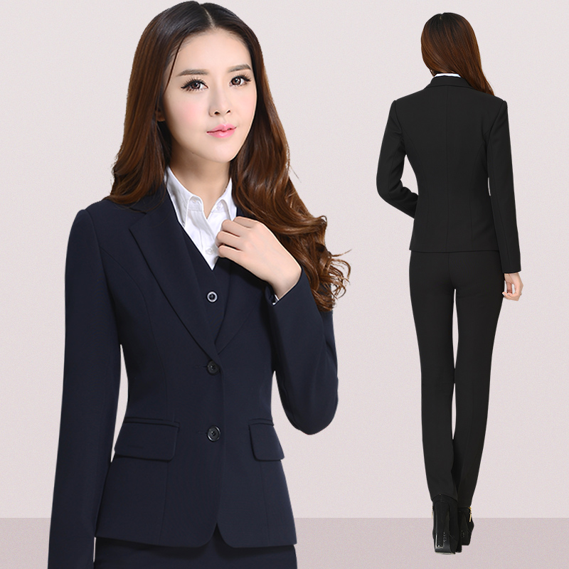 Fashion Womenu0026#39;s Professional Work Wear Pants Suit Formal Long Sleeve Blazer And Pant Female ...