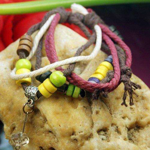 Pretty Charming Stylish Tibetan Silver Crystal Pendant wood Beads Hemp Bracelet