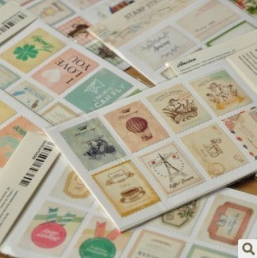 8 bags/lot (128 pcs) DIY Vintage Retro Classic Stamp Sticker Flowers Birds Stamp For Decoration Scarpbooking Free shipping 10022(China (Mainland))
