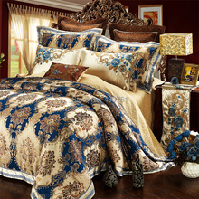 Fashion luxury tribute silk bedding set soft home textile bedding set jacquard 10 pieces high quality comforter set bed cover(China (Mainland))