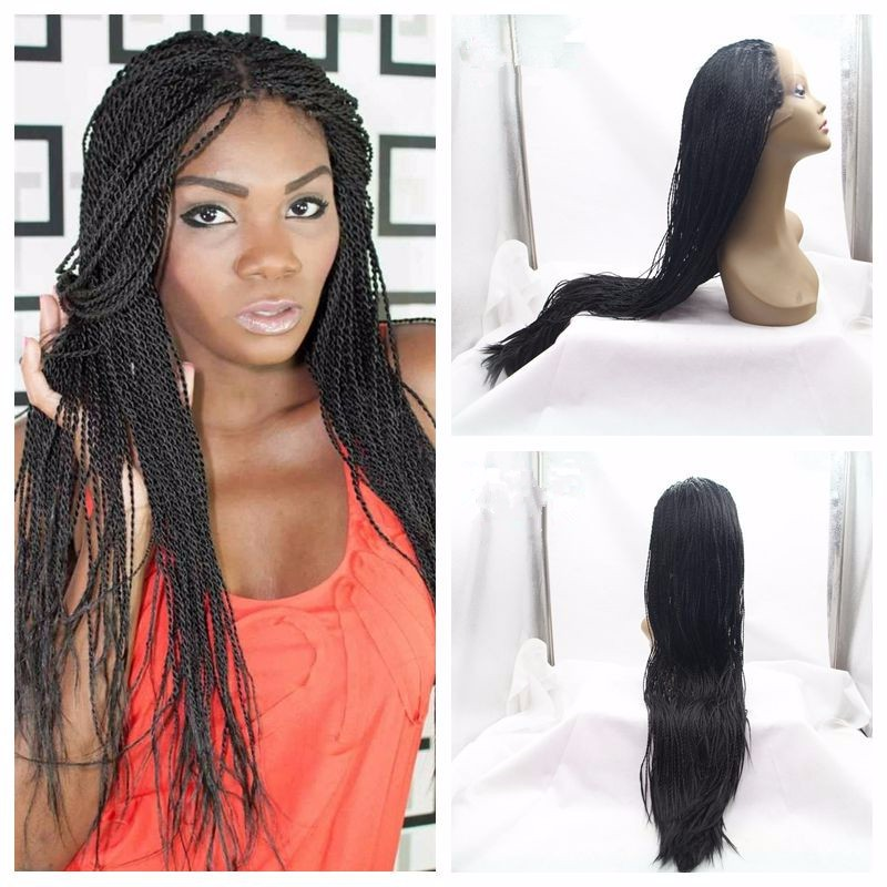 Фотография Lace Box Braids Wig Synthetic Black Hair Heat Resistant Micro Braids with Baby Hair Synthetic Wig For African American