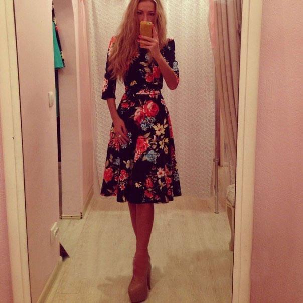 Новый женский 2015 женщин сладкий стиль печать декоративных , шею длиной до колен платье свободного покроя лучшие продажи